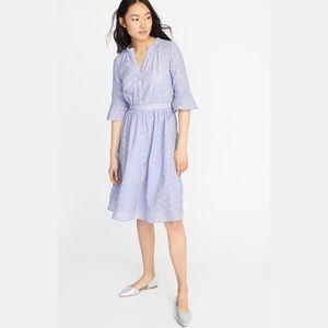 Ann Taylor Bell Sleeve Midi Shirt Dress